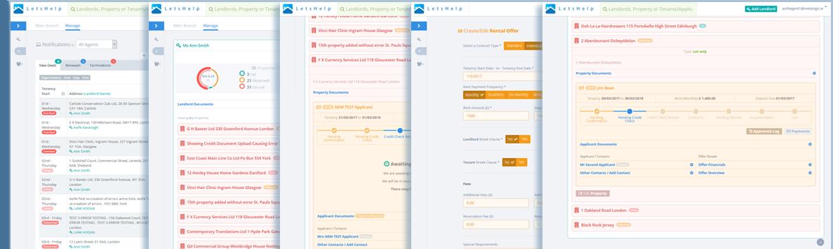 Letshelp Admin Screens